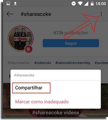 Instagram Direct Compartilhe Hashtags
