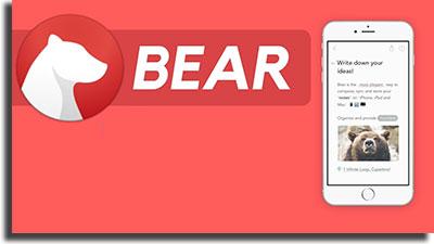 Bear (iOS) best note-taking apps