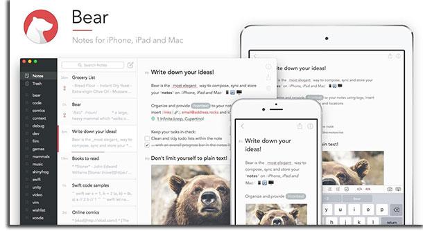 apps de anotações bear