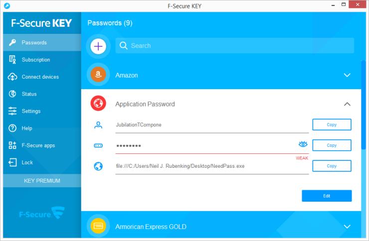 apps para gerenciar senhas f-secure