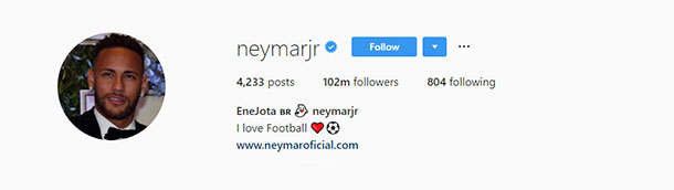 frases para bio do Instagram Neymar
