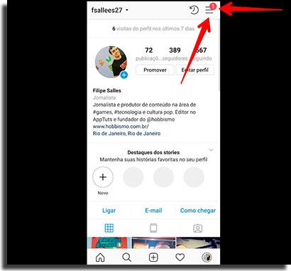 novidades do instagram nao aparecem menu