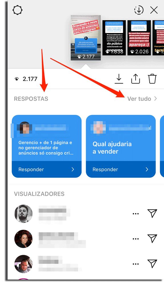 onde ver as respostas do Instagram