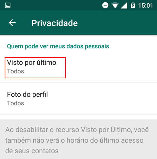 Como tirar o online do WhatsApp Passo 5