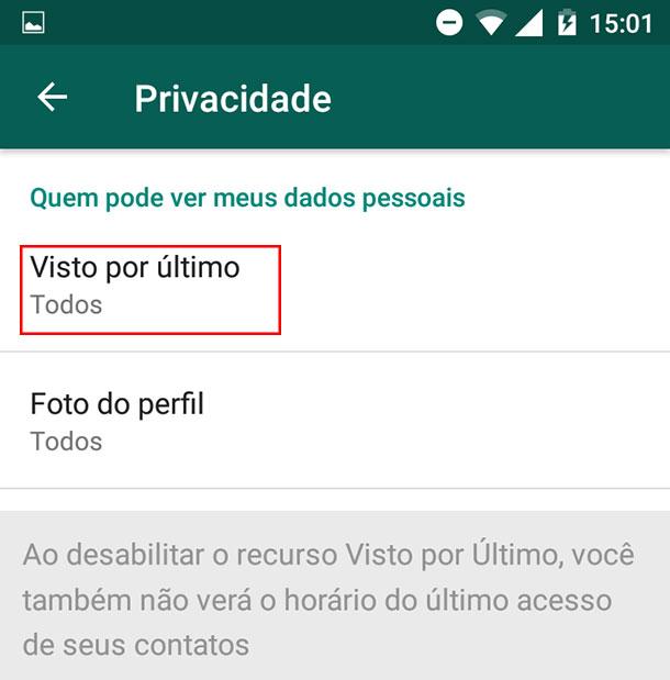 Como tirar o online do WhatsApp Passo 5