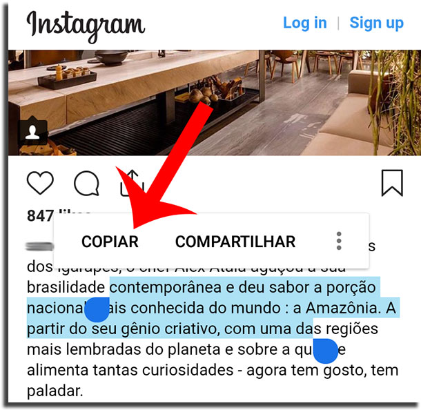copiar textos do instagram passo 3