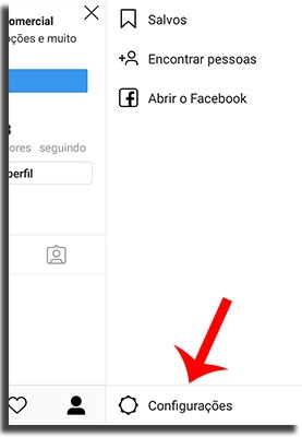configurações do instagram