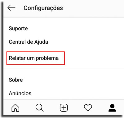 reportar problema no instagram