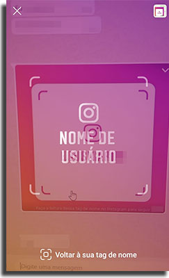 tag de nome no instagram escaneando com a camera