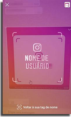 tag de nome no instagram escaneando com a camera