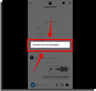 como mandar áudio no instagram apagar