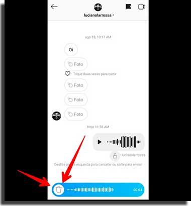 como mandar áudio no instagram lixo