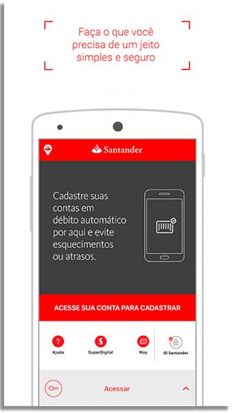aplicativo para pagar contas santander