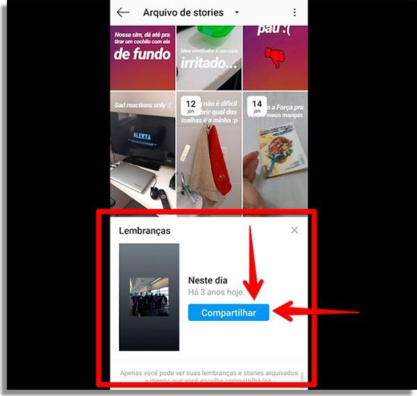como compartilhar lembrancas no instagram stories compartilhar
