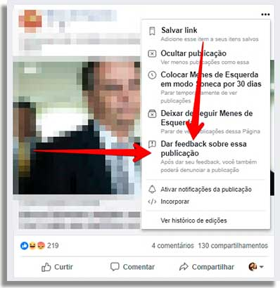 como denunciar fake news feedback