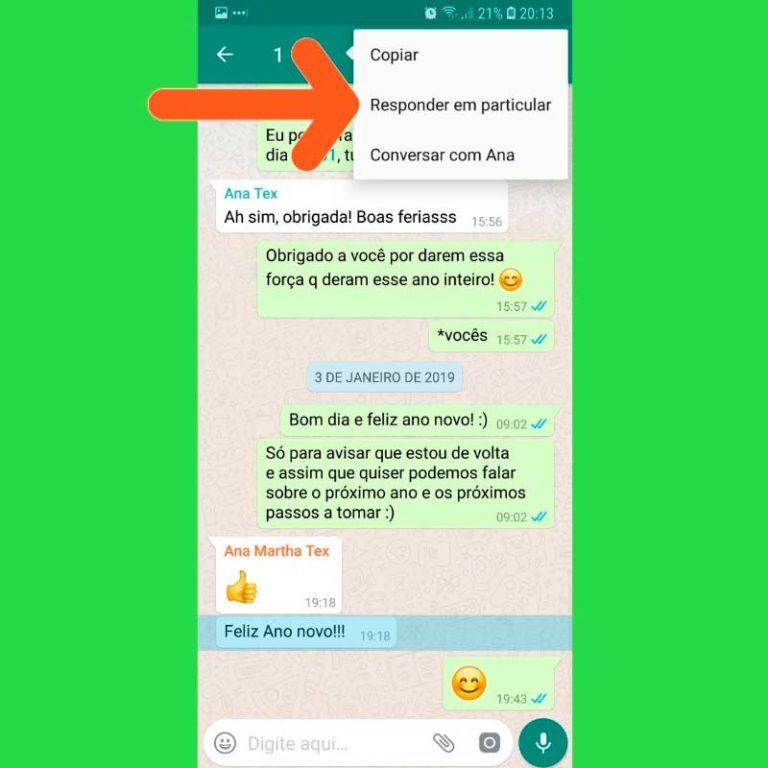 Como responder mensagens de grupos no WhatsApp