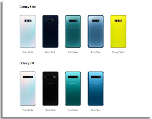novidades do galaxy s10 cores