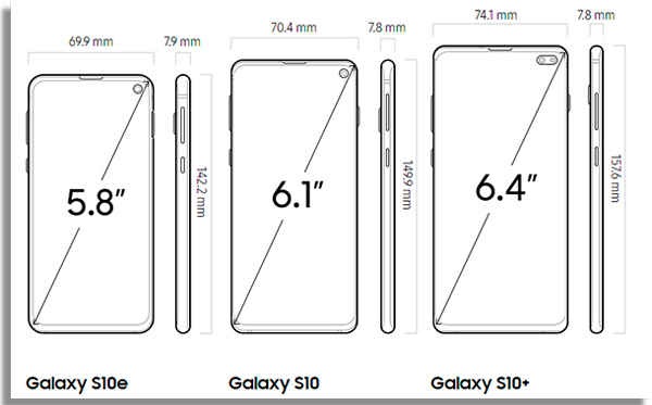dimensoes do novo galaxy s10