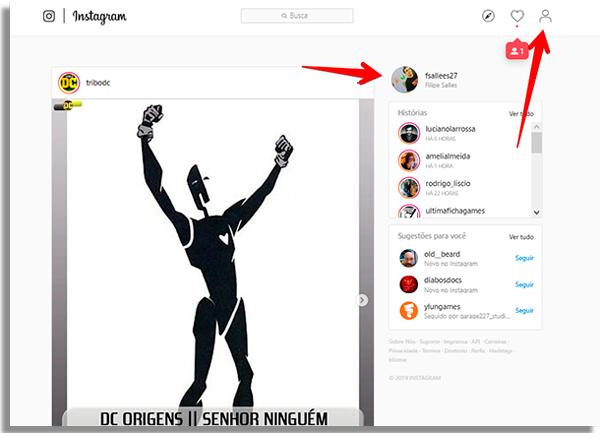acesse seu perfil no instagram do navegador