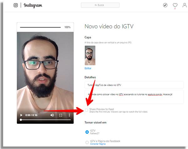 como colocar video no igtv previapc