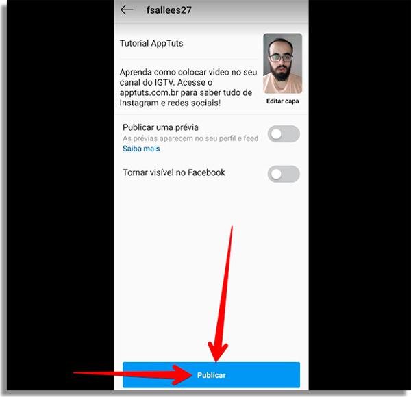 publicar conteudo no canal de videos do instagram