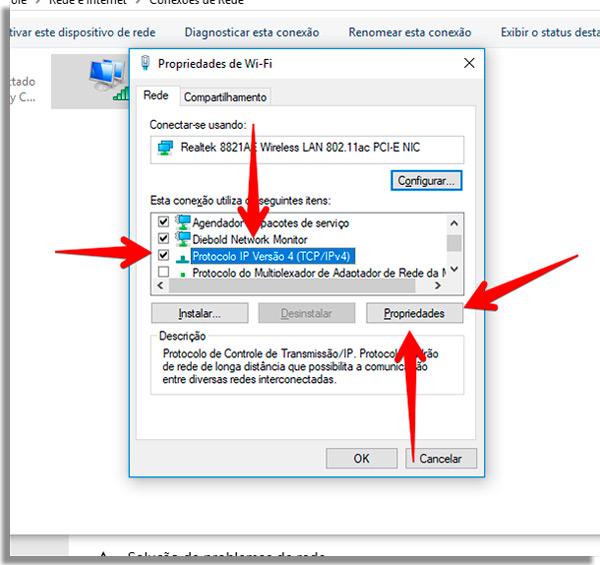 acesse o menu do protocolo ipv4 da sua conexao
