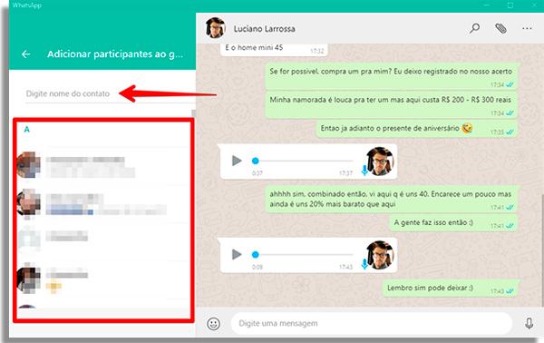 como usar whatsapp pelo pc contatos