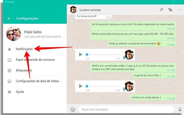 como usar whatsapp pelo pc notificacoes