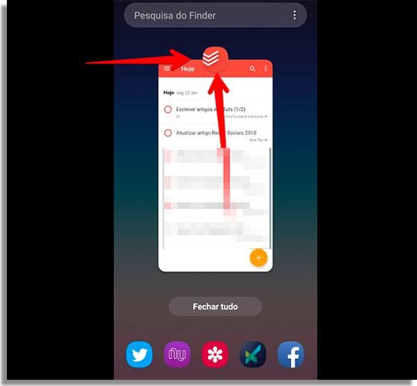 pressione o icone por alguns segundos