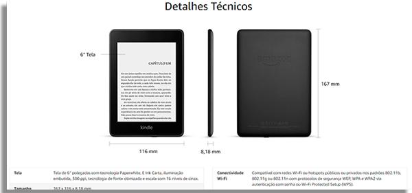 leitor de ebook especificacoes