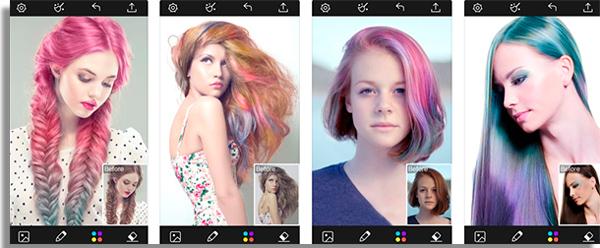 esse app permite testar diferentes tipos de cores e penteados