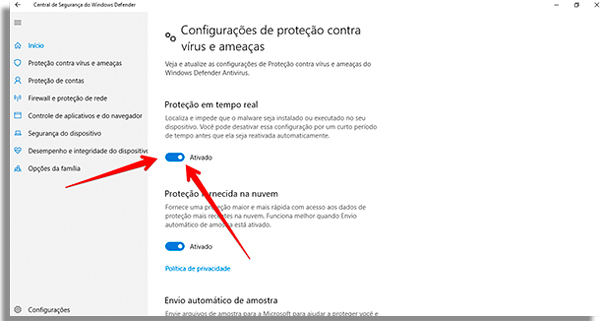como desativar o windows defender desativar
