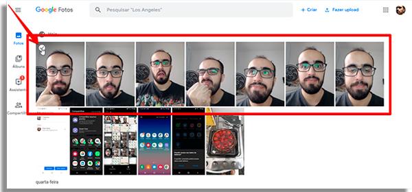 escolha as imagens para fazer backup