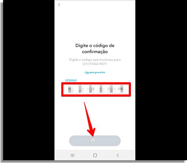 coloque o codigo que recebeu no seu email ou celular