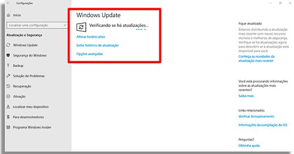 como atualizar o windows 10 verificando
