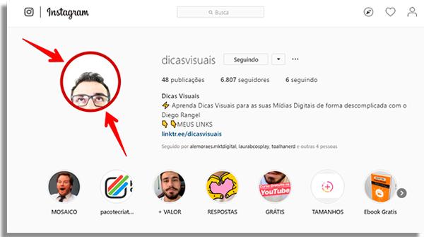 colocar circulo foto instagram perfil