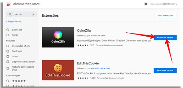 como capturar cores no google chrome colorzilla