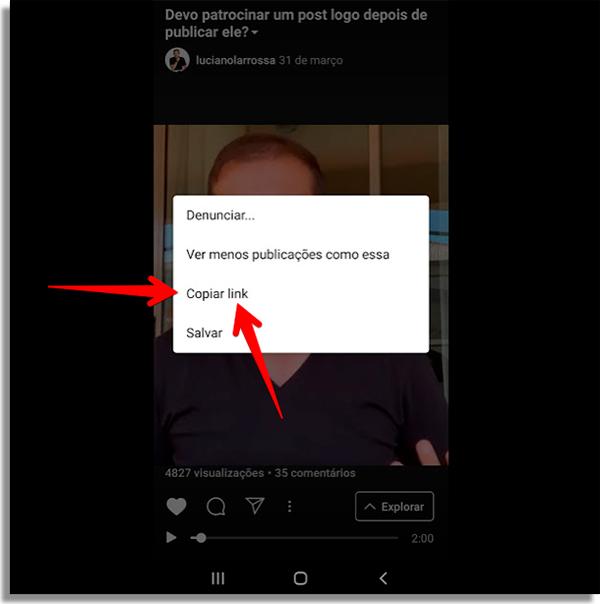 como compartilhar link instagram whatsapp copiar