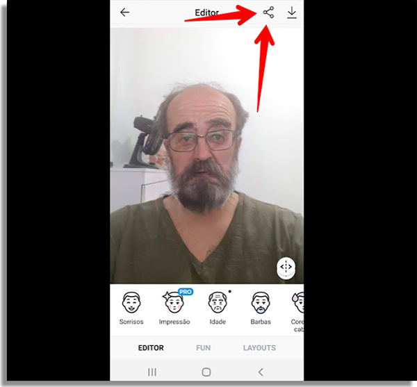 como usar faceapp compartilhar