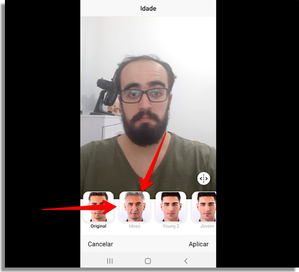 como usar faceapp idoso