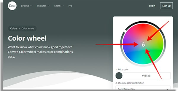 color wheel 2 how to use Canva