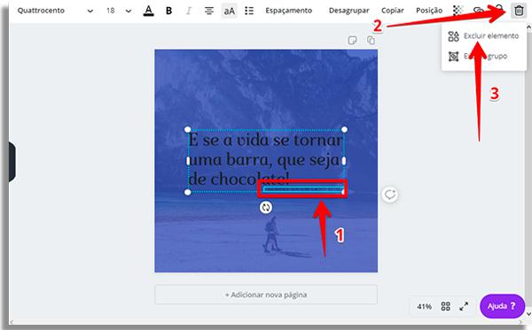 criar imagens frases excluir