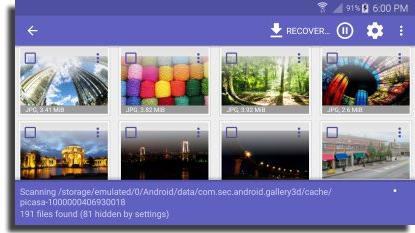 recuperar vídeos apagados do Android Disk Digger Selecione Arquivos