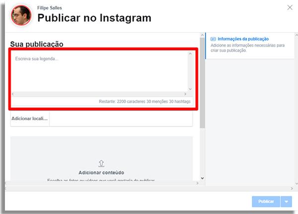 como agendar posts direto instagram escrever