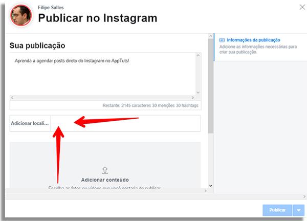como agendar posts direto instagram marcarlocal