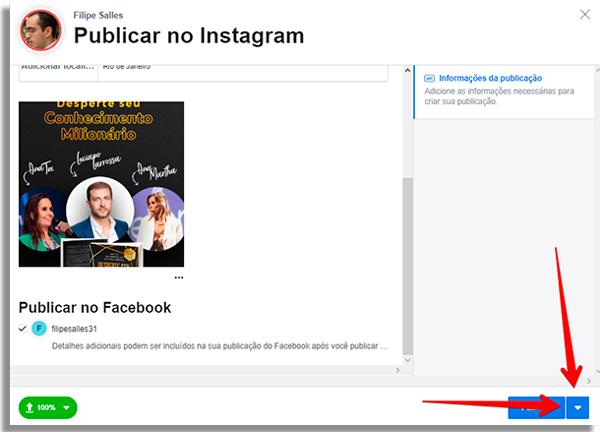 como agendar posts direto instagram seta