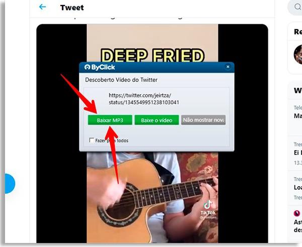 tela do byclick downloader com setas vermelhas apontando para botão baixar música
