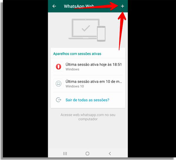 mostrar onde fica o botao para sincronizar o whatsapp web