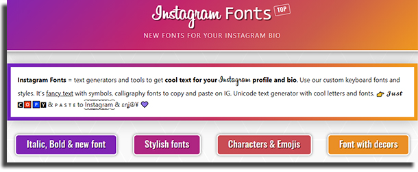 fuentes para Instagram Fonts Top