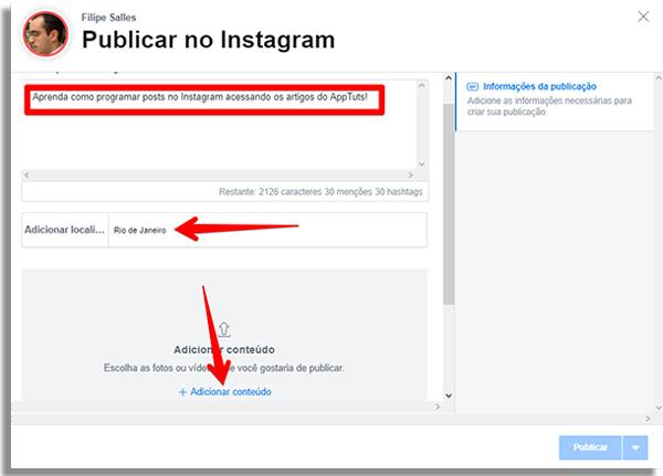 programar posts instagram publicacao